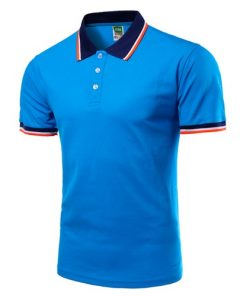 Men Polo Shirt Short Sleeve Blue