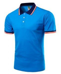 Men Polo Shirt Short Sleeve Blue
