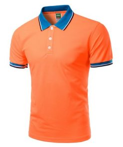 Men Polo Shirt Short Sleeve Orange