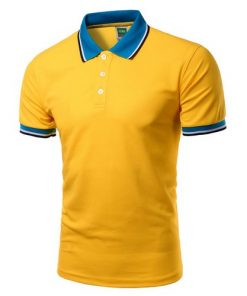 Men Polo Shirt Short Sleeve Yellow