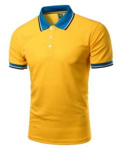 Men Polo Shirt Short Sleeve Yellow